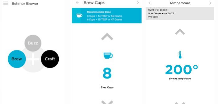 Behmor Connected Smart Coffee Application Screenshots